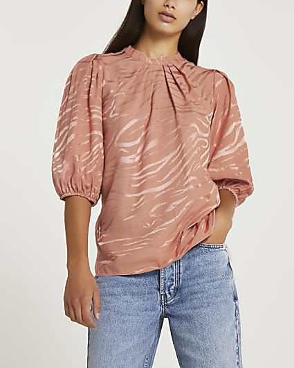 Pink animal print pleated high neck top