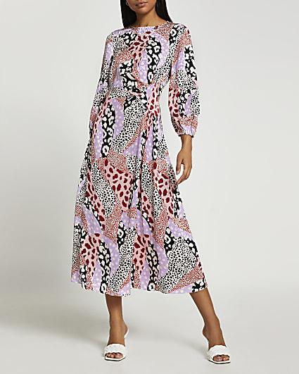 Pink animal print ruched side midi dress