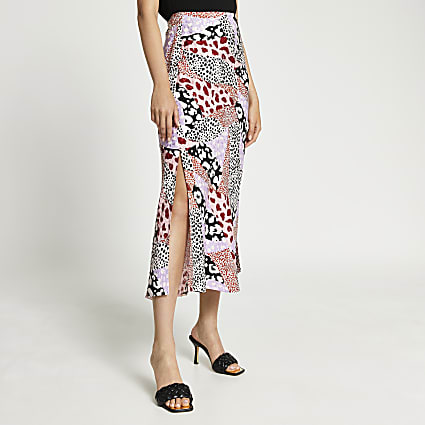Pink animal print side split maxi skirt