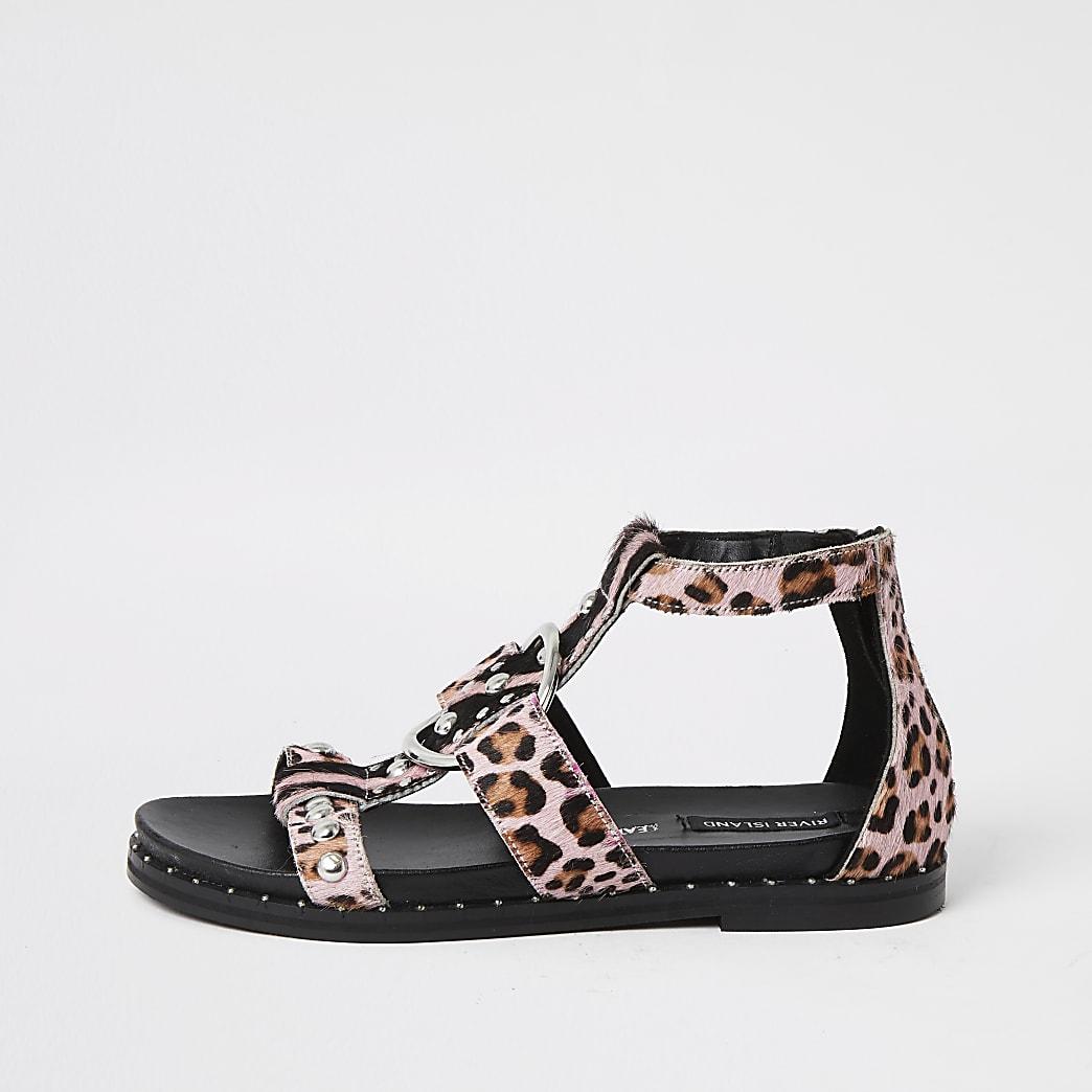Pink animal print studded gladiator sandals