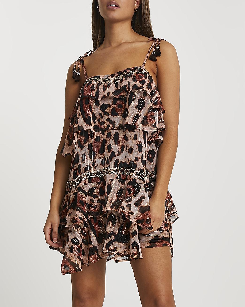 Pink animal print tiered mini beach dress