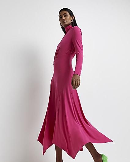 Pink asymmetric hem midi dress