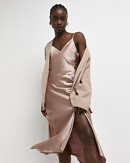 Pink asymmetric midi slip dress