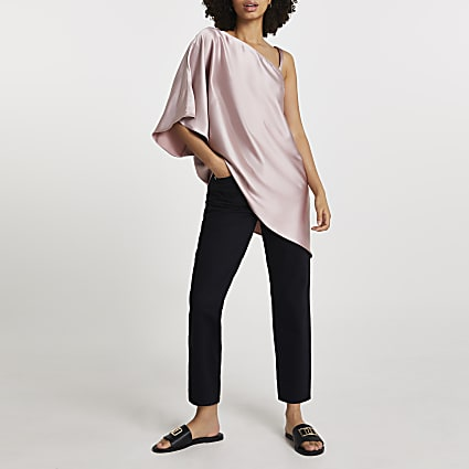 Pink asymmetric one shoulder strap top