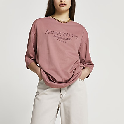 Pink 'Atelier Couture' oversized t-shirt