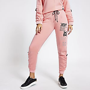 Pink 'ATLR' print ruched joggers