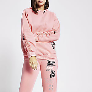 Pink 'ATLR' print ruched sleeve hoodie