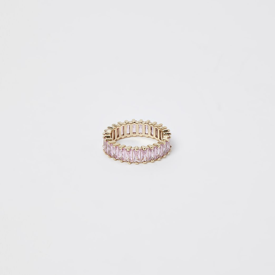 Pink baguette stone Rring