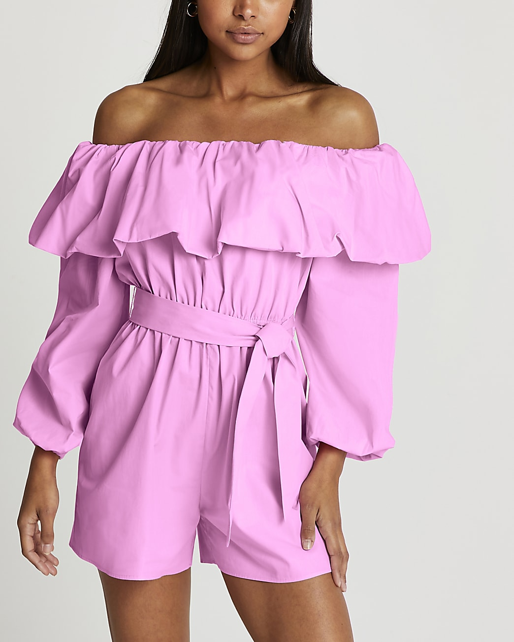 Pink bardot frill belted playsuit