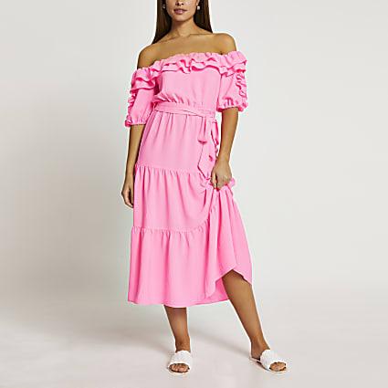 Pink bardot frill midi dress