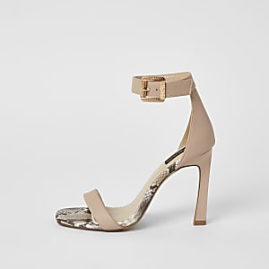 Pink barely there wide fit heeled sandals