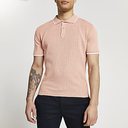 Pink basket weave knitted polo shirt