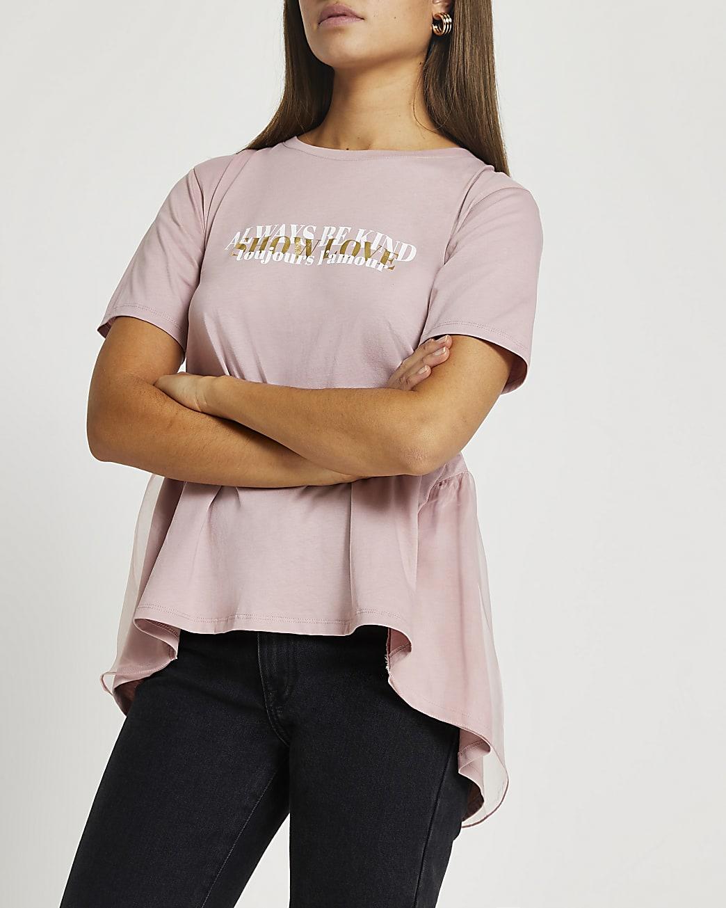 Pink 'Be Kind' tie back t-shirt