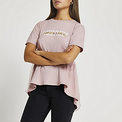 Pink 'Be Kind' tie back t-shirt