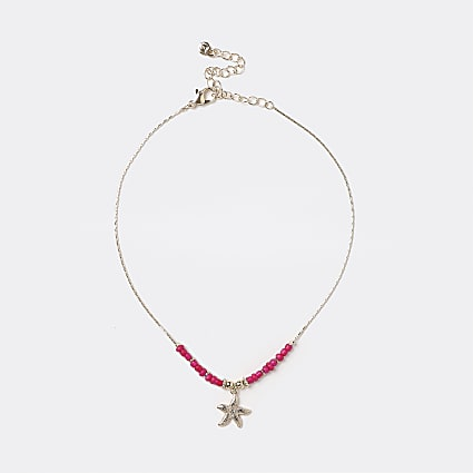 Pink bead and starfish choker