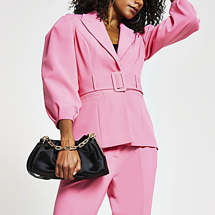 Pink belted bell puff sleeve blazer