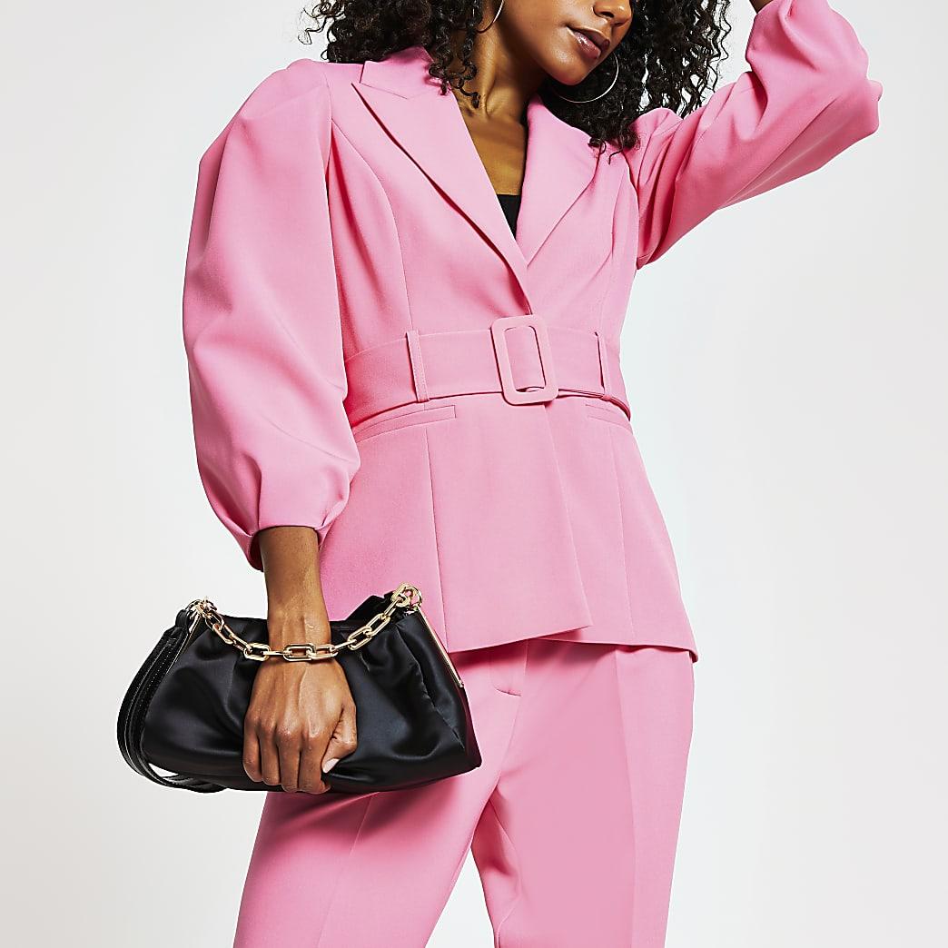 Pink belted bell puff sleeve blazer
