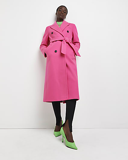 Pink belted double breasted coat