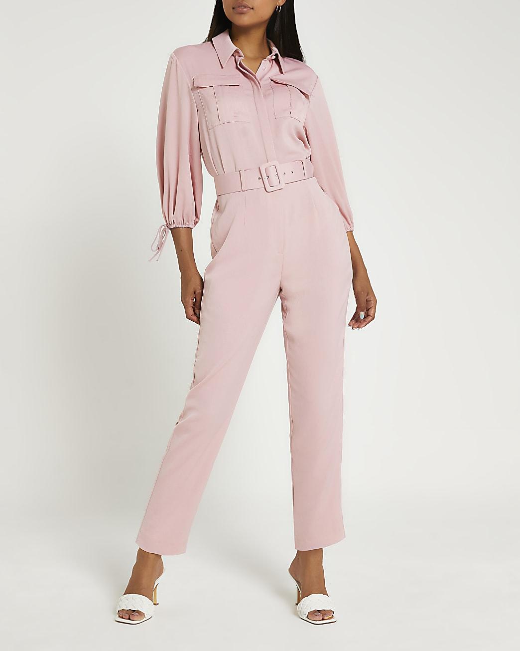 Pink belted jumpsuit