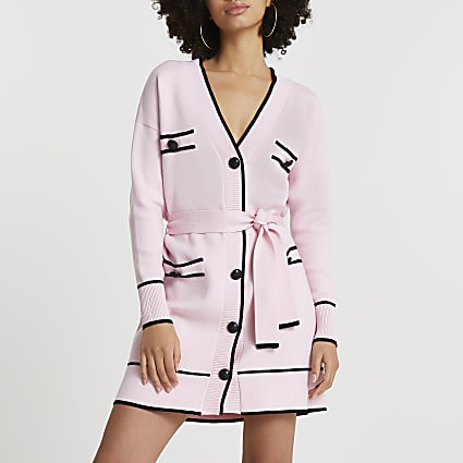 Pink belted longline cardigan
