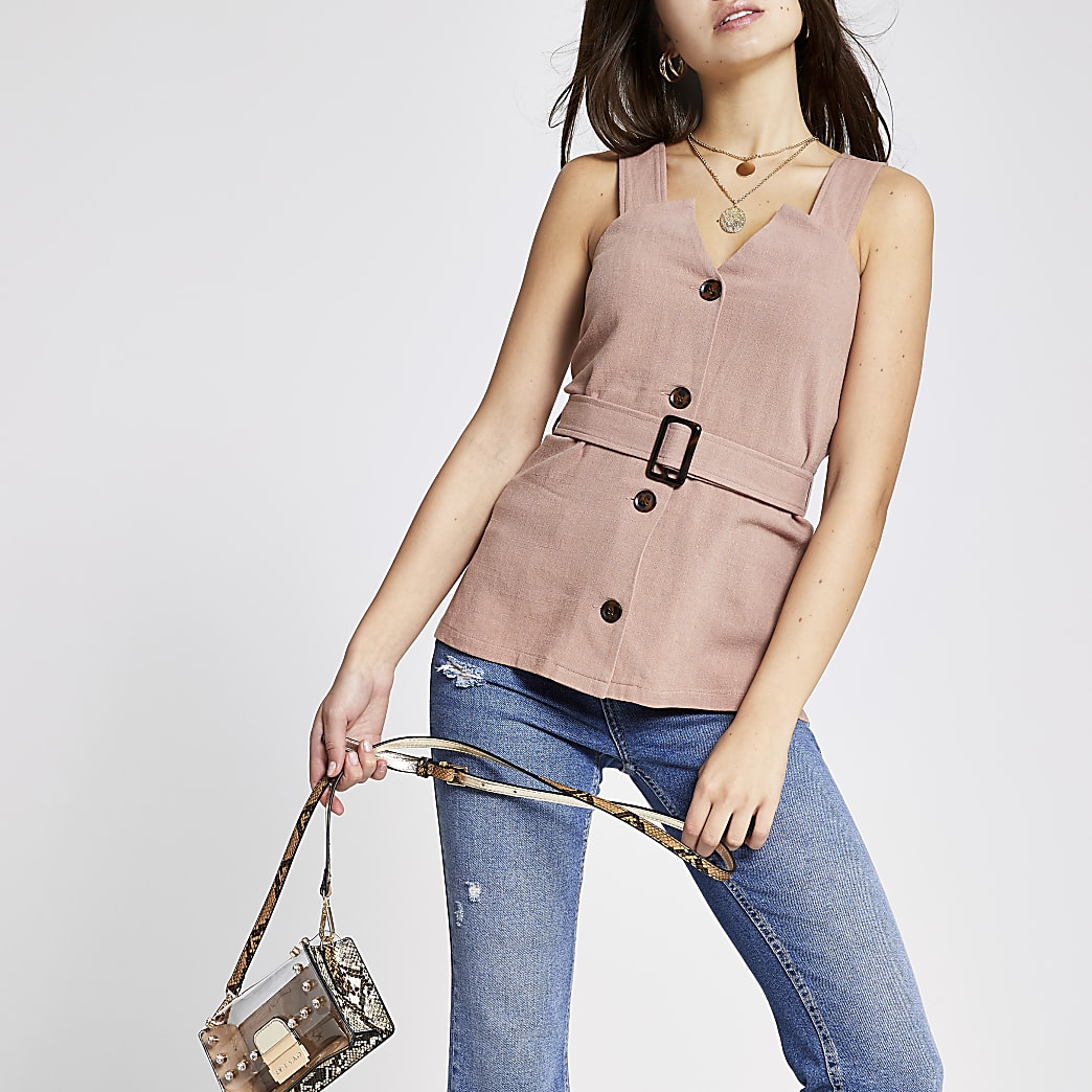 Pink belted sleeveless top