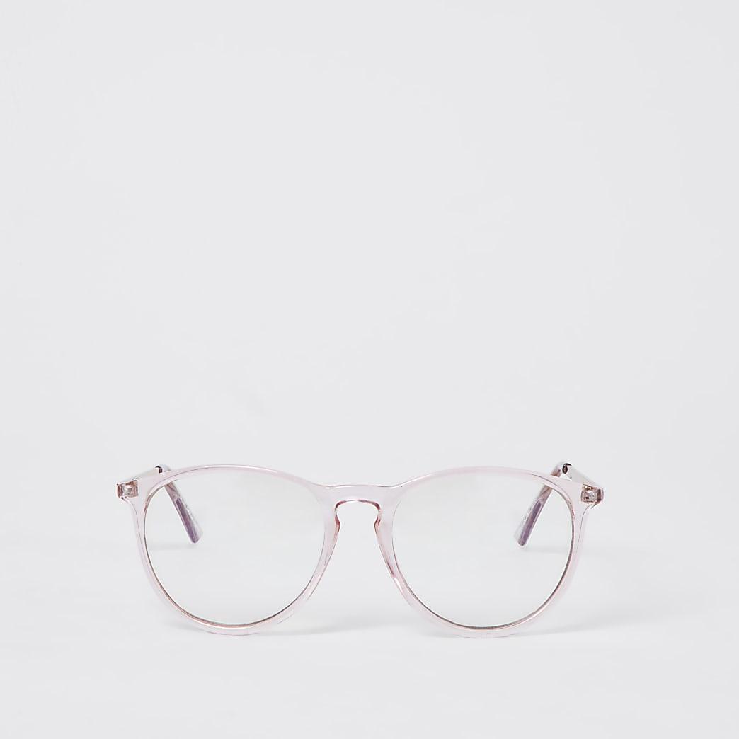 Pink blue light lens preppy frame sunglasses