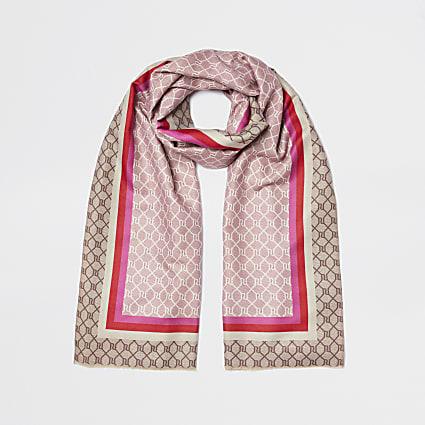 Pink boarder monogram print scarf