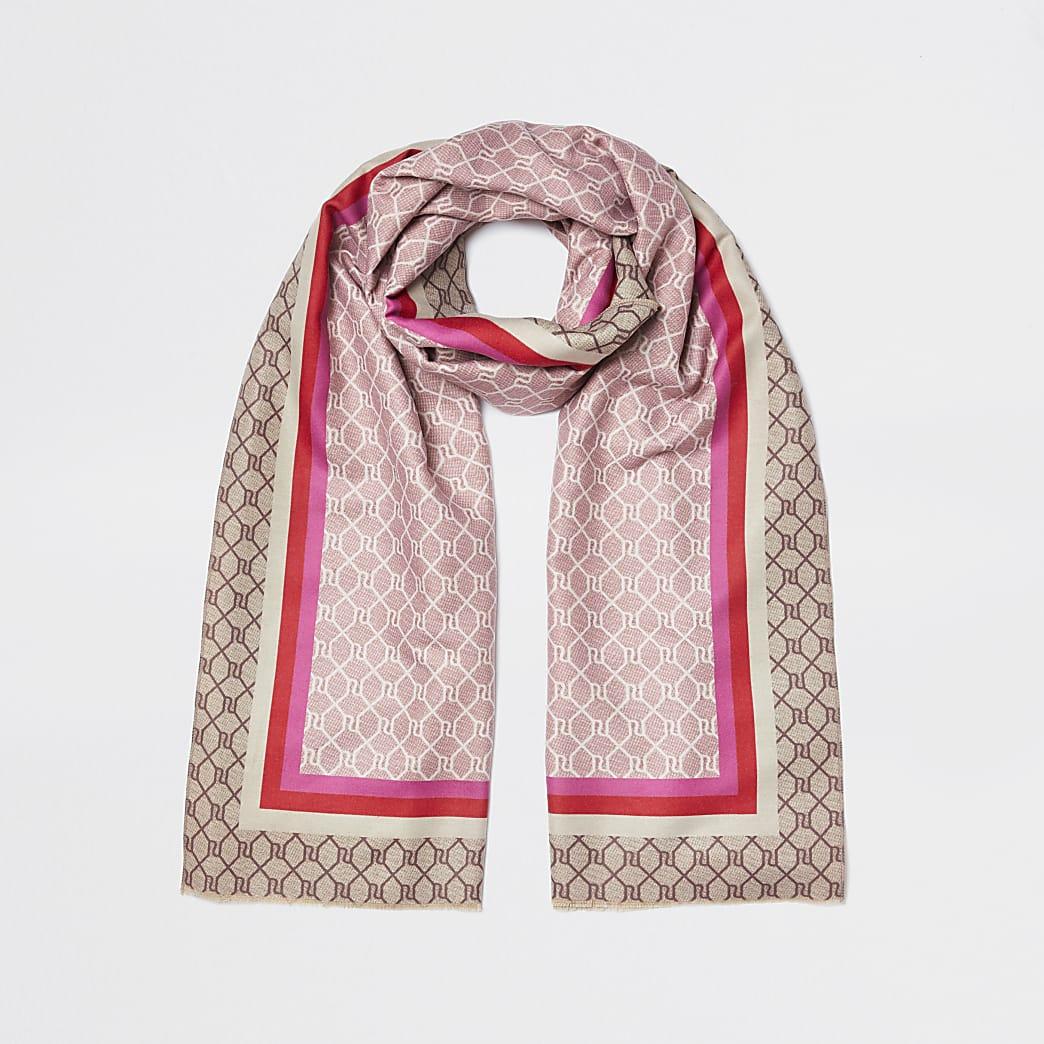 Pink border monogram print scarf'