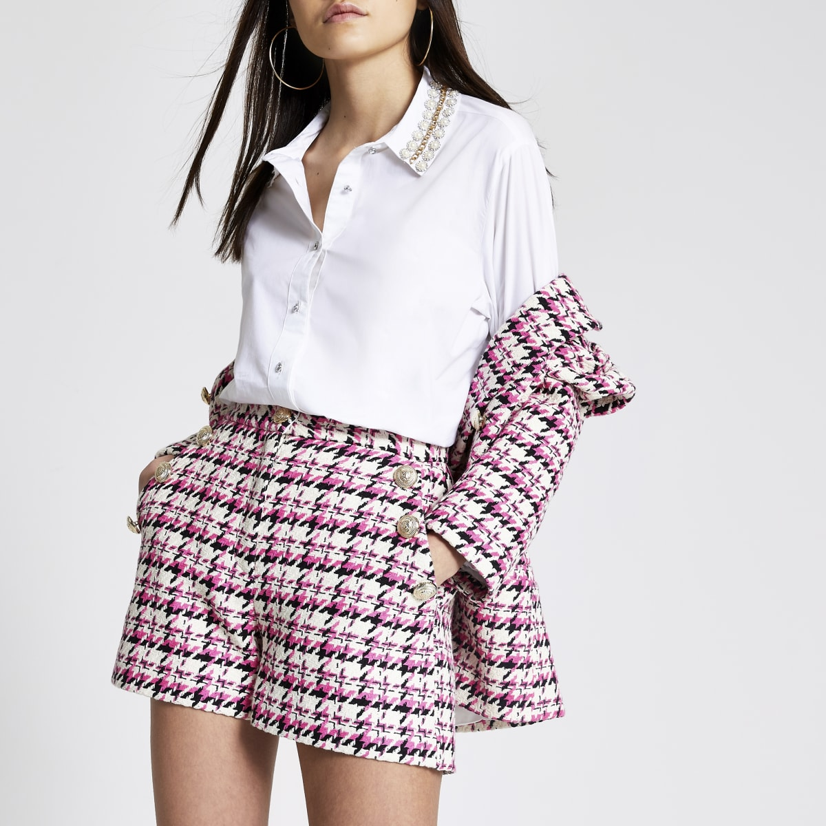 Pink boucle check high rise shorts