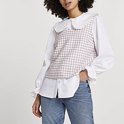 Pink boucle hybrid collar blouse top