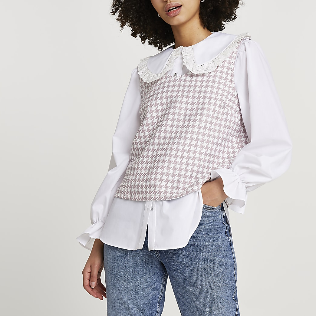 Pink boucle hybrid collar blouse top