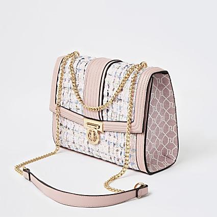 Pink boucle shoulder bag