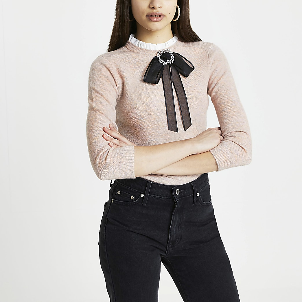 Pink bow detail jumper