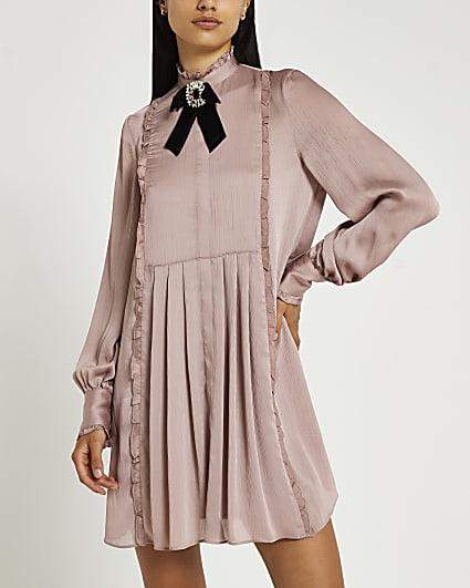 Pink bow detail mini dress