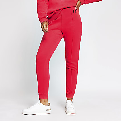 Pink branded RR tie waist jogger