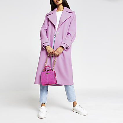 Pink bright cuff detail coat