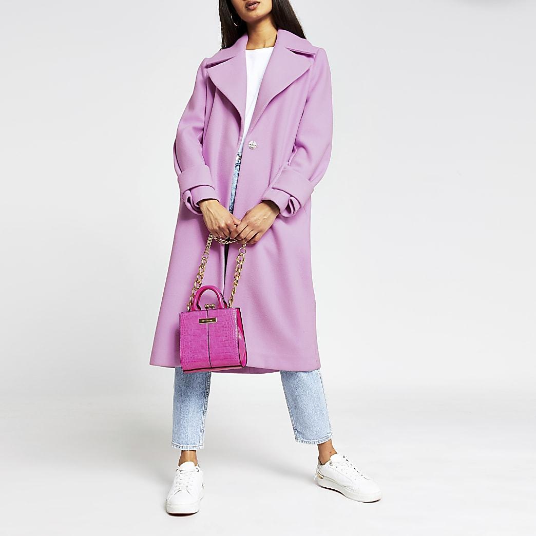 Pink bright cuff detail coat
