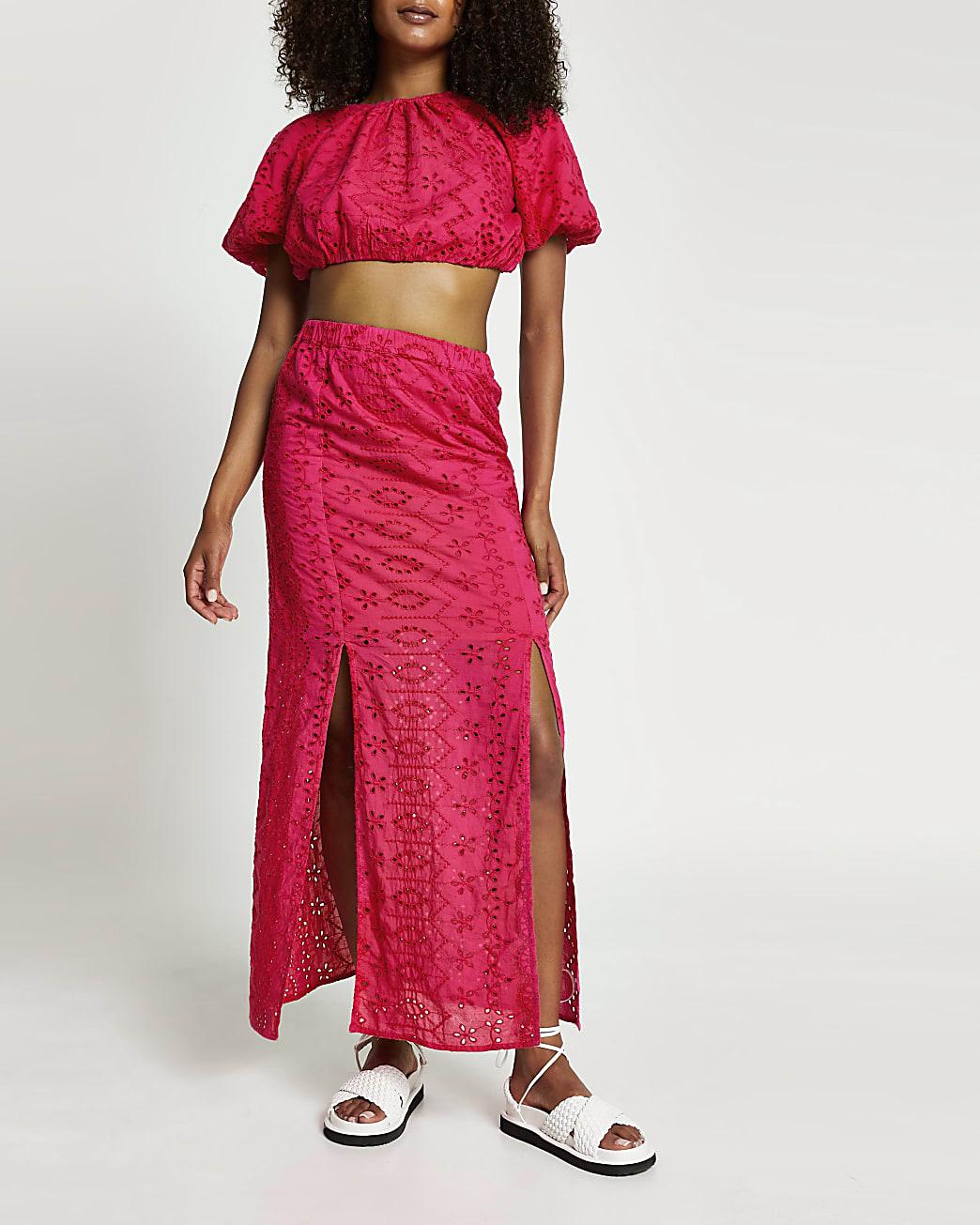 Pink broderie double split maxi skirt