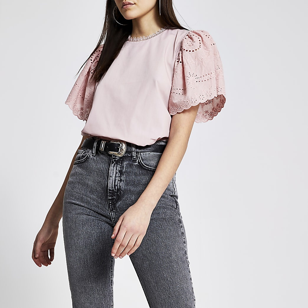 Pink broderie short sleeve studded top