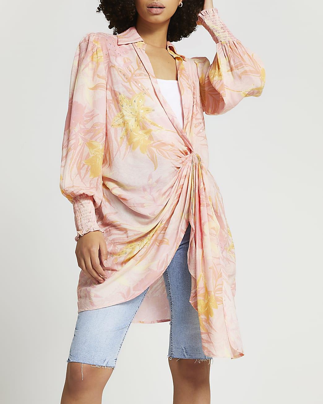 Pink buckle twist front beach shirt