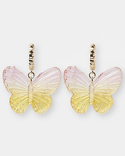 Pink butterfly drop earrings
