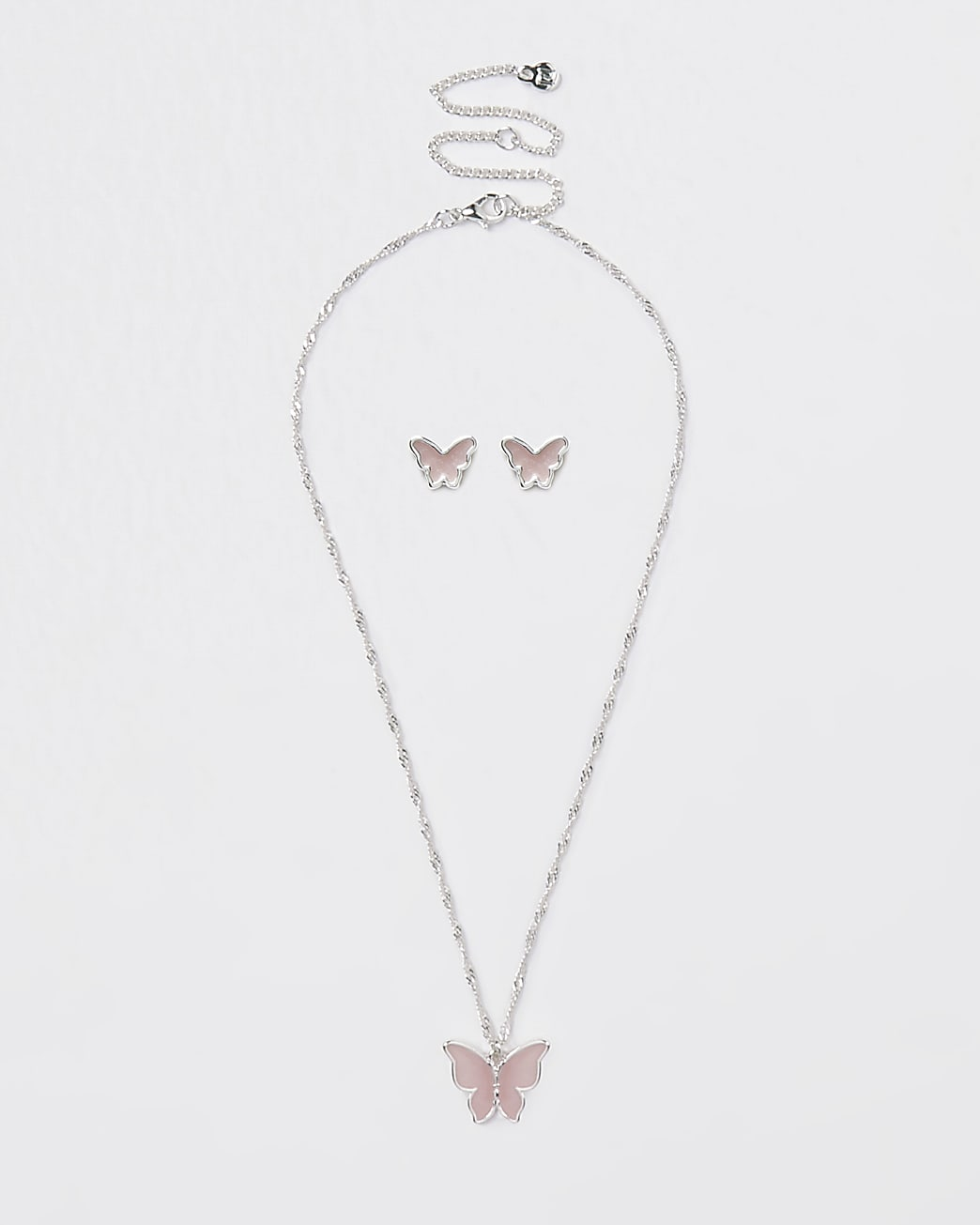 Pink butterfly earring and necklace set