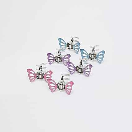Pink butterfly hair clips