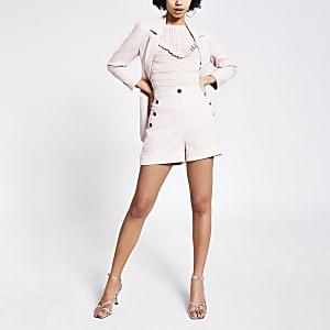 High-Rise-Shorts in Rosa mit Frontknöpfen