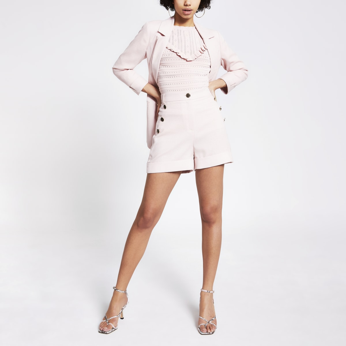 Pink button front high rise shorts
