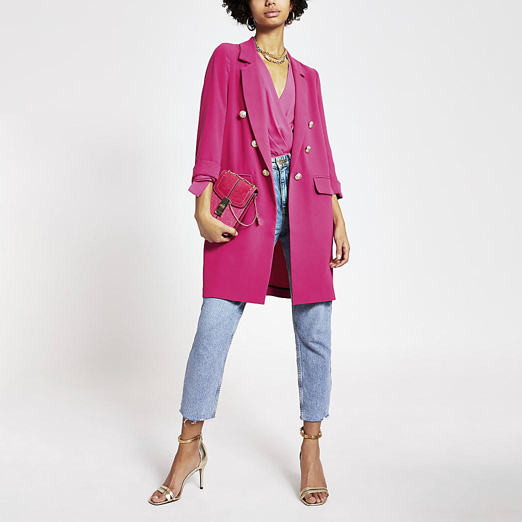 Pink button front longline blazer jacket