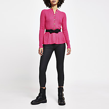 Pink cable knit peplum cardigan