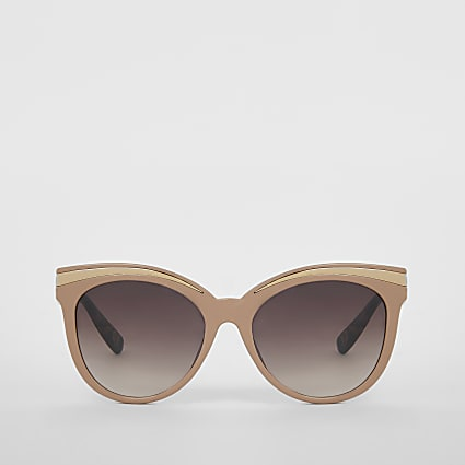 Pink cateye metal brow sunglasses