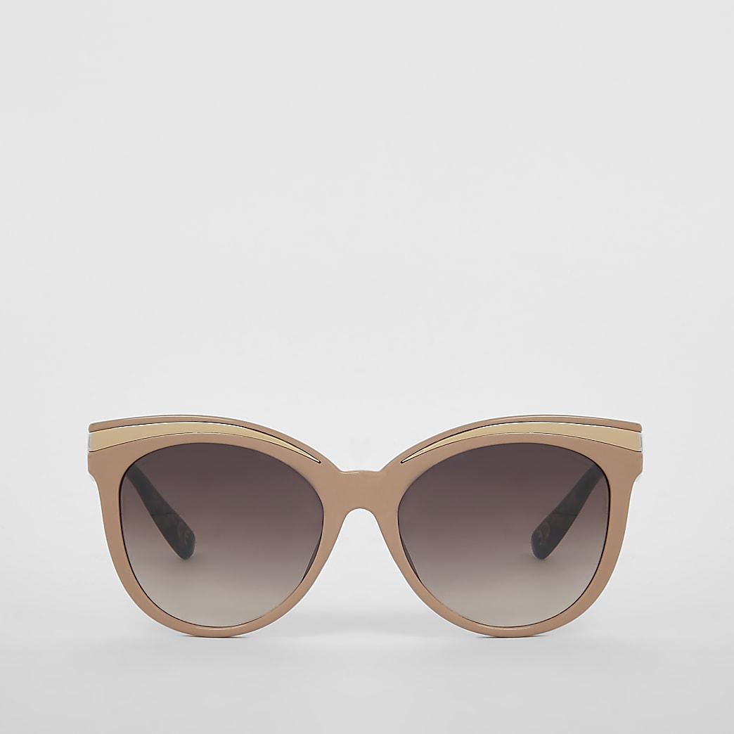 Pink cateye metal brow sunglasses
