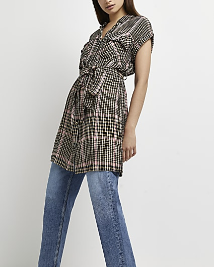 Pink check belted shirt